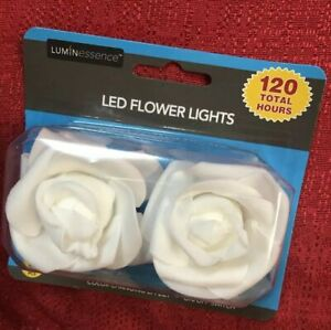 2 Luminessence White Flower battery LED tea lights with Flickering effect