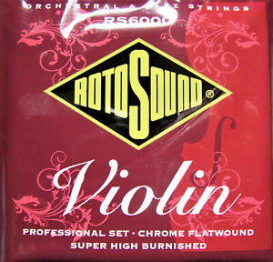 Rotosound Professional Violin Strings Chrome Flatwound. Set. Silked. RS6000