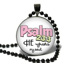 Psalm 23:3 Glass Top Pendant Necklace Handmade Religious Bible Scripture Jewelry