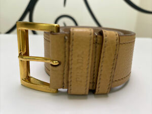 Prada, Belt , Extreme  Soft Leather ,  Colour Tan/yellow , 75cm Great Cond