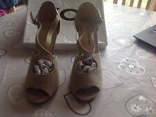 Beige Suede Slim Heel Sandals Size 6 BNWT