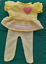 "Cabbage Patch Kids Brand/Vintage/Yellow Fleece Heart Dress/tights 16"" Girl Dolls"