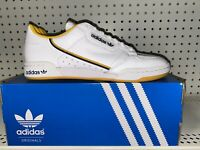 Adidas Originals Continental 80 Mens Leather Athletic Shoes Size 10 White Yellow