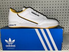 Adidas Originals Continental 80 Mens Leather Athletic Shoes Size 8 White Yellow
