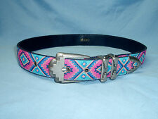 "Vintage Ladies 80's NUOVO Southwest Western Teal Pink Blue Peach Belt 34"" Multi"