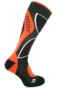 Snowboard Winter Socks Orange Expansive Professional Shaped Merino Wool 4 sizes