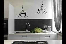 2 Coffee Cups Stickers Kitchen tiles Wall Dinning room DIY Decal Adhesives