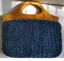 Vintage 70s Mister Ernest Blue Crochet Knit Purse Bag