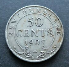 1907 SILVER NEWFOUNDLAND 50 CENTS COIN, CIRCULATED CONDITION, LOT#38