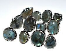 Bulk Price Lot !! 50 PCs. Natural LABRADORITE 925 Sterling Silver Plated Ring