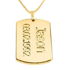 24K Gold Plated Dog Tag Plate Necklace - Customize it with a name and date