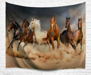 Realistic Running Horses Tapestry 51 x 59 Inch Wild Animal Wall Hanging FAST!