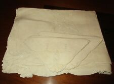 """Tan Linen Embroidered Cut Work Tablecloth with 5 Napkins - 51 x 67"""""""