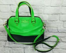 Kate Spade Grove Court Crossbody Purse Bowler Green/Navy Handbag Pebbled Leather