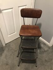 Vintage Cosco Brown Pull Out Step Stool Kitchen Seat Booster Chair USA