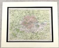 1899 Antique Map of London England South East 19th Century Original
