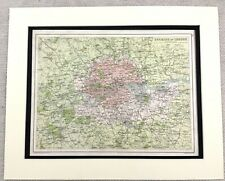 1899 Antique Map of London England South East 19th Century Original