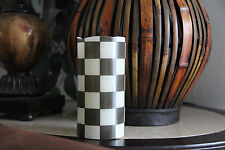"Black and White Checkered 6"" Inch Flameless LED Pillar Candle"