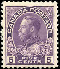 Canada Mint H 5c 1922 F+ Scott #112 King George V Admiral Issue Stamp
