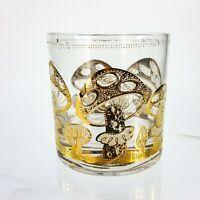 MCM Culver Glass Tumbler Rocks Drinking Glass Gold Mushroom Pattern Vintage