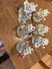 Vintage Lefton Kitty Snowflake Figurines 1992 & 1993-lot of Six