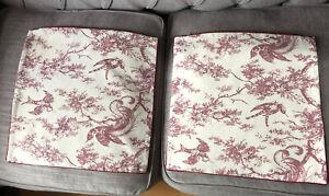 2 x Toile de Jouy cushion covers 45cm x 45cm