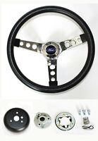 """Explorer Ranger Black Steering Wheel Grant 13 1/2"""" chrome spokes Ford cap"""
