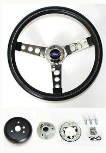 """New! Explorer Ranger Black Steering Wheel Grant 13 1/2"""" chrome spokes Ford cap"""