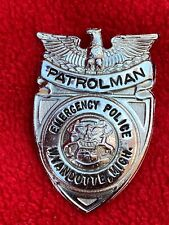 A9) Vintage OBSOLETE Wyandotte MI Mich Patrolman Police Badge Emergency