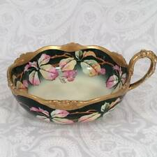 Hand Painted Signed Limoges Nappy Black Berries Leaf Candy Nut Bon Bon Bowl Dish