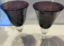 Pier 1 Purple / Amethyst Tall Stem Wine Glasses Goblets - Set of 2