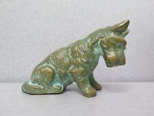 Vintage Bronze Dog Figurine Cold Painted Green Gold