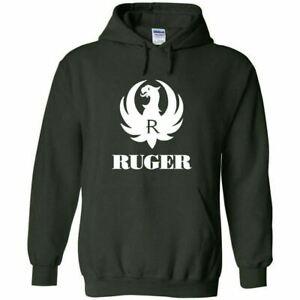 Ruger White Logo Hoodie Sweatshirt 2nd Amendment Pro Gun Rights Rifle Pistol New