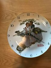 Vtg Porcelain Norman Rockwell Fairmaont Wall Collector Plate Clock