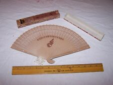 Vintage Fancy Ornate Wood Hand Fan with Unknown Asian Airline Logo