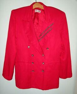 Vintage 80's Solini NY Evening Red Formal Rhinestone Jacket Bling Women Large