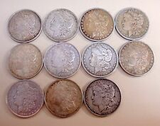 LOT OF ELEVEN MORGAN SILVER DOLLAR COINS WITH DIFFERENT MINT MARKS 90% SILVER