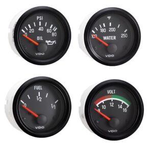 4 Gauge set with senders, VDO genuine gauges, Oil,Temp,Fuel,Volt,12V, spin-loc