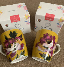 BNIB 2 X Joules Golden / Ochre Floral Mug Set - Lovely Gift