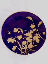 J CALLOWHILL WORCESTER GILDED CABINET PLATE WITH SPIDER BUTTERFLY AND FOLIAGE