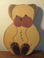 "Beaver Creek Folk Art / Primitive Wooden 10"" Teddy Bear Wall Art - Artist Signed"