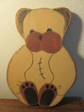 "Beaver Creek Folk Art / Primitive Wooden 10"" Teddy Bear Wall Art - Artist Signed"
