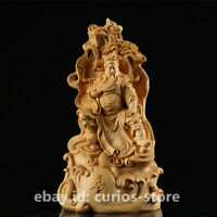 "7.9"" Chinese Box-wood Hand-Carved Pine Tree Sit Guan Gong Yu Dragon Warrior God"