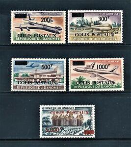 DAHOMEY 1967-69 AVIATION PARCEL POST ISSUES 200f-5000f SCT CQ1-CQ5 CV $53.50 MNH