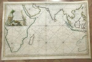 INDIAN OCEAN MALAYSIA AUSTRALIA 1757 NICOLAS BELLIN VERY LARGE ANTIQUE WALL MAP