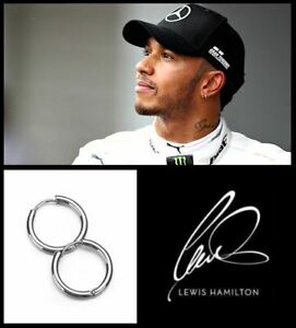Men's/Boy's: Lewis Hamilton, One Pair, 18ct White Gold Plated 8mm Hoop Earrings