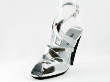 New  Prada Silver Patent Leather Sandals Size 39 US 9