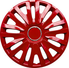 "SEAT LEON Universal 15"" Inch WT5 Wheel Trims Hup Cap 4 piece set in RED"