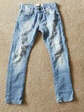 "Levis 520 Extreme Taper Fit Age 8 Waist 24"" Distressed Ripped Frayed Blue Denim"