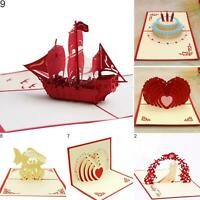 CG_ Heart Ship Birthday Cake Handmade 3D Pop Up Holiday Christmas Greeting Cards